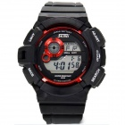 Fashion Anti-shock Sport Plastic Quartz Digital Wrist Watch - Black + Red (1 x 377)