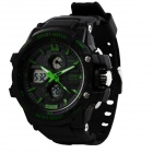 Fashion Anti-shock Sport Plastic Quartz Digital + Analog Wrist Watch - Black + Green (1 x 377)