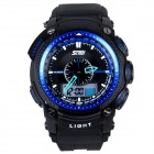 Fashion Anti-shock Sport Plastic Quartz Digital + Analog Wrist Watch - Black + Blue (1 x 377)
