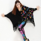 Spray Painting Style Cotton + Spandex Fringes Batwing-sleeved Loose T-shirt for Women - Black (L)