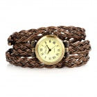 JingYi JY-103 Weave Edelstahl PU-Band Quarz Analog Armbanduhr - Brown + Bronze (1 x LR626)