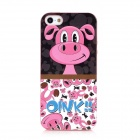 Lofter Cartoon Pig Pattern Protective TPU Back Case for Iphone 5 - Red + Black + White + Blue
