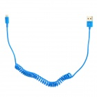 TH-8 Spring Lightning 8-Pin Male to USB 2.0 Male Data Sync / Charging Cable for iPhone 5 - Blue