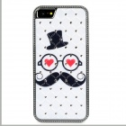 Mustache Old Man Pattern Crystal-inlaid Protective ABS Back Case for Iphone 5 - White + Black