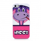 Lofter Cute Cartoon Snake Pattern Protective TPU Back Case for Iphone 5 - Purple + Red + White