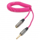 Retractable 3.5mm Male to Female Audio Spring Cable - Deep Pink + Black + Silvery Grey (36cm)