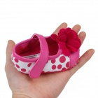 Cute Round Dot & Flower PU Cotton Baby Shoes - Deep Pink + White (6~9 Months /  Pair)