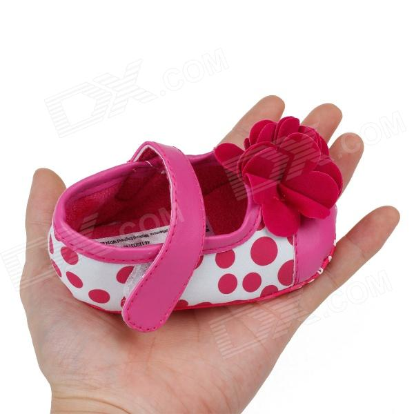 Cute Round Dot & Flower PU Cotton Baby Shoes - Deep Pink + White (3~6 Months /  Pair)