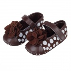 Cute Round Dot & Flower PU Cotton Baby Shoes - Brown + White (9~12 Months / Pair)