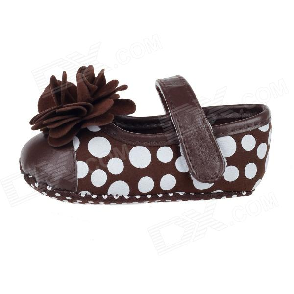 Cute Round Dot & Flower PU Cotton Baby Shoes Brown