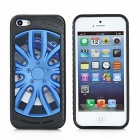 Cool Electrofacing Wheel style Protective Silicone + Plastic Back Case for iPhone 5 - Black + Blue