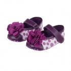 Cute Round Dot & Flower PU Cotton Baby Shoes - Purple + White (3~6 Months /  Pair)