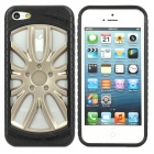 Cool Electrofacing Wheel style Protective Silicone + Plastic Back Case for iPhone 5 - Black + Silver