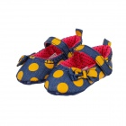 Nette Runde Dot Cotton Baby Shoes - Dark Blue + Gelb (3 ~ 6 Monate / Paar)