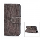 Tree Skin Pattern Protective PU Leather Case Stand w/ Card Slots for Iphone 5 - Grey Brown