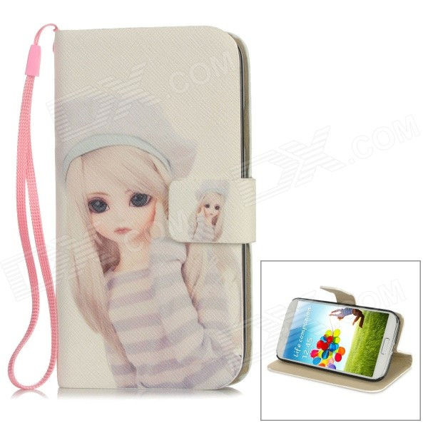 Cute Girl Pattern Protective PU Leather Cover PC Back Case Stand for Samsung S4 i9500 - White protective cute spots pattern back case for samsung galaxy s4 i9500 multicolored