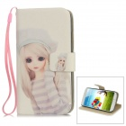 Barbie Girl Pattern Protective PU Leather Cover PC Back Case Stand for Samsung S4 i9500 - White