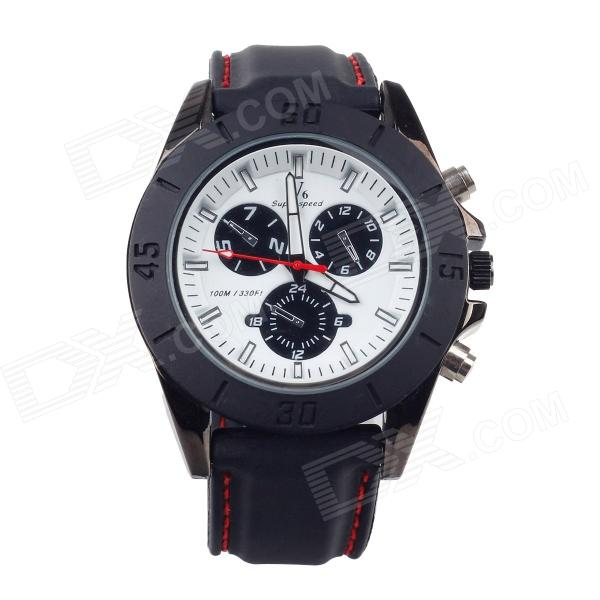 Super Speed V0087-BW Fashionable Analog Quartz Men's Wrist Watch - Black + White (1 x LR626) 1more super bass headphones black and red