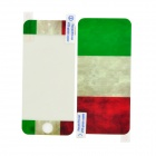 Flag of Italy Pattern Protective Screen + Back Skin Protector Set for Iphone 5 - Red + White + Green