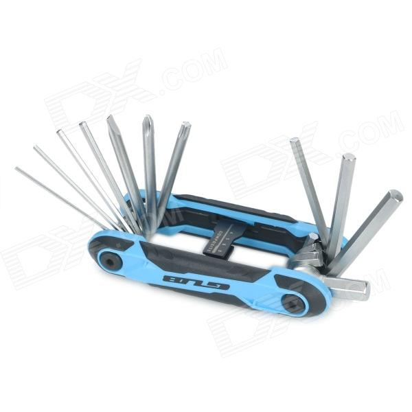 GUB HS-111 11-in-1 Multifunction Folding Stainless Steel Screwdriver Set for Bicycle - Blue + Black