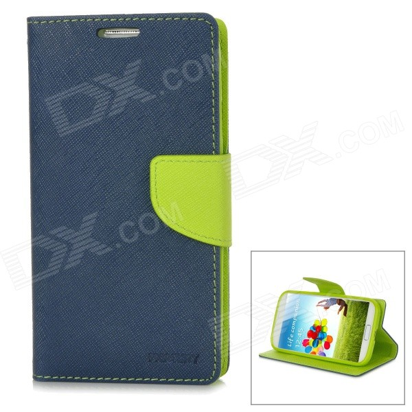 Protective PU Leather + TPU Case for Samsung Galaxy S4 i9500 - Dark Blue + Green one piece 1x brand new high quality silicon protective skin case cover for xbox 360 remote controller blue green mix color