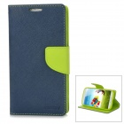 Protective PU Leather + TPU Case for Samsung Galaxy S4 i9500 - Dark Blue + Green