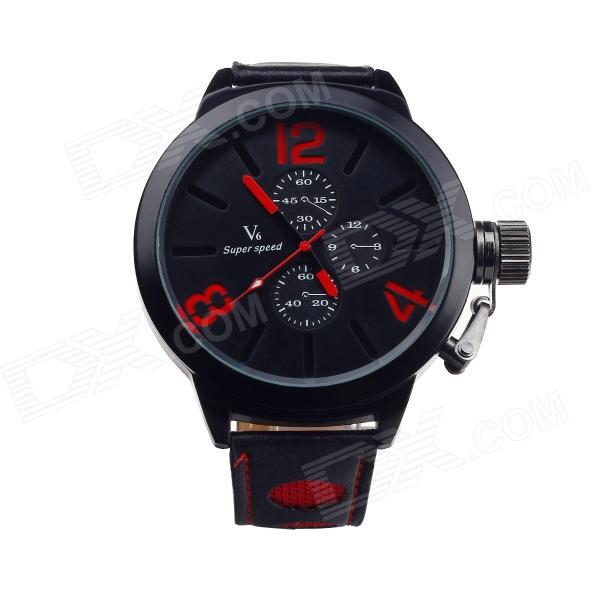 Super Speed V0161-BR Fashionable Men's Analog Quartz Wrist Watch - Black + Red (1 x LR626) paidu fashion men wrist watch casual round dial analog quartz watch roman number faux leatherl band trendy business clock