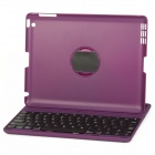 E-085 Bluetooth v3.0 78-Key Keyboard w/ 360 Degree Rotational Case for Ipad 2 / New Ipad - Purple