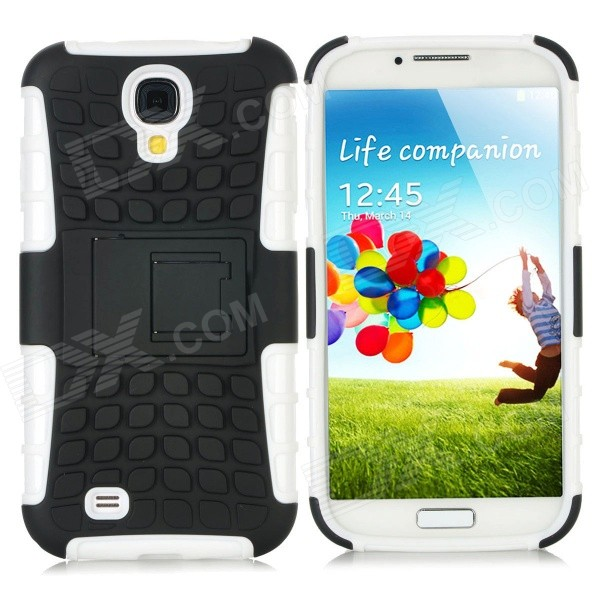 Stylish Protective TPU + PC Back Case w/ Stand for Samsung Galaxy S4 i9500 - White + Black 2 in 1 detachable protective tpu pc back case cover for samsung galaxy note 4 black