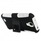 Stylish Protective TPU + PC Back Case w/ Stand for Samsung Galaxy S4 i9500 - White + Black