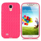 Checked Style Protective TPU Back Case for Samsung Galaxy S4 i9500 - Deep Pink