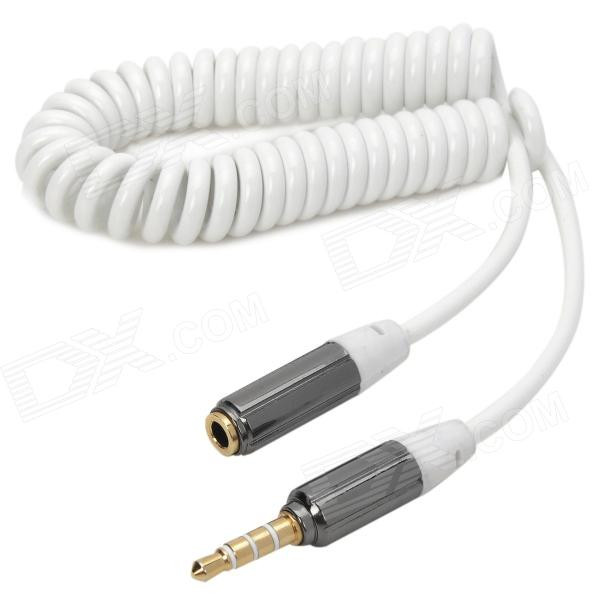 Retractable 3.5mm Male to Female Audio Spring Cable - White + Silvery Grey (36cm) 3 5mm female to 2 rca male audio adapter cable 36cm length
