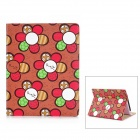 Cute Flower Pattern Protective PU Leather Case for Ipad 2 / 4 - White + Red + Coffee