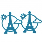 81159 Eiffel Tower Style Heat Shield PVC Cup Pad / Beverage Coaster - Blue (2 PCS)