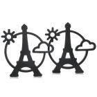 81159 Eiffel Tower Style Heat Shield PVC Cup Pad / Beverage Coaster - Black (2 PCS)