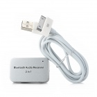 Bluetooth Audio Receiver w/ 30-Pin Connector + 3.5mm Jack for iPhone / iPad - White + Silver