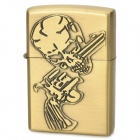 KANTAI Pistol + Skull Pattern Copper Zinc Alloy Kerosene Oil Lighter - Bronze