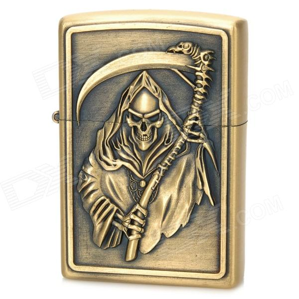KANTAI Grim Reaper Pattern Copper Zinc Alloy Kerosene Oil Lighter - Bronze