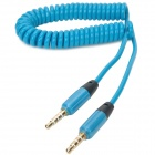 Retractable 3.5mm Male to Male Audio Spring Cable - Cadet Blue (38cm)