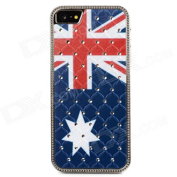 Australia National Flag Pattern Crystal-inlaid Protective ABS Back Case for Iphone 5 - Blue + Red 8x zoom telescope lens with crystal back case for iphone 5