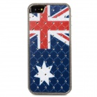 Australia National Flag Pattern Crystal-inlaid Protective ABS Back Case for Iphone 5 - Blue + Red