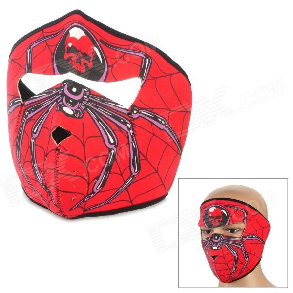 SW2051 Cool Spider w/ Skull Pattern Outdoor Sport Synthetic Rubber Face Mask - Red skull pattern outdoor motorcycle face mask shield guard white black free size