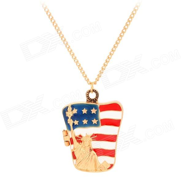The US Flag w/ Statue of Liberty Style Pendant Necklace - Golden gorgeous 60cm length golden thick braided wheat chain necklace for men
