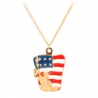 The US Flag w/ Statue of Liberty Style Pendant Necklace - Golden
