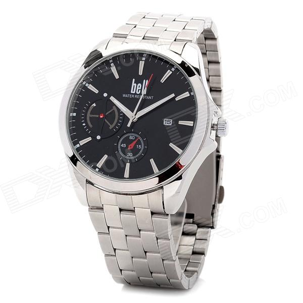 Stainless Steel Round Dial Quartz Analog Wrist Watch w/ Calendar for Men - Silver + Black (1 x 377) fashion stainless steel men s quartz analog wrist watch w calendar silver black 1 x 377