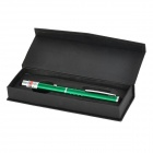 5mW 532nm Single Dot Green Laser Pointer w/ Clip - Green + Silver (2 x AAA)