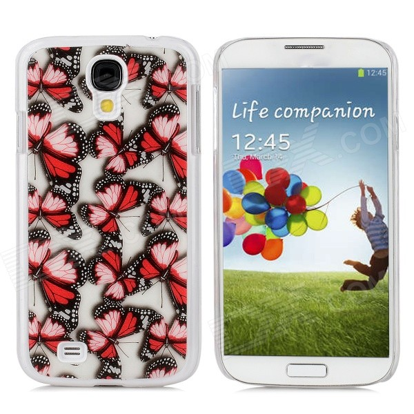 Protective Butterfly Pattern PC Back Case for Samsung Galaxy S4 / i9500 - Red + Black + White protective cute spots pattern back case for samsung galaxy s4 i9500 multicolored