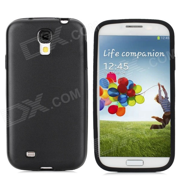 Protective Aluminum Alloy + Silicone Back Case for Samsung Galaxy S4 / i9500 - Black aluminum alloy 20x telephoto lens w tripod case for samsung i9500