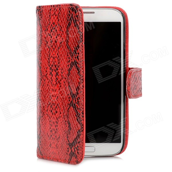 Protective Snake Skin Pattern Flip Open Case for Samsung S4 / i9500 - Red + Black cool basketball skin pattern silicone protective back case for samsung galaxy s4 i9500 black red