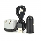 Car Charger + US Power Charger + Lightning 8-Pin Male to USB Male Cable for iPhone 5 - Black + Grey